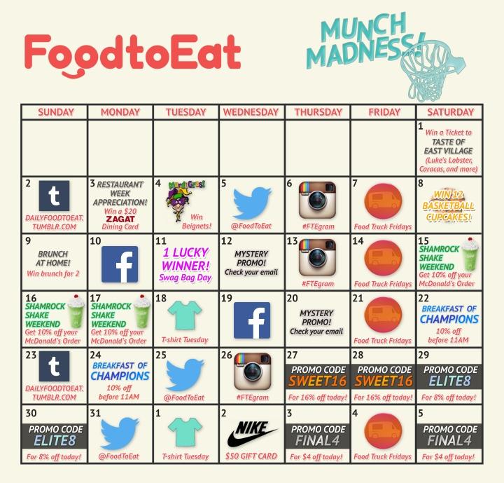 FoodtoEat Munch Madness Calendar