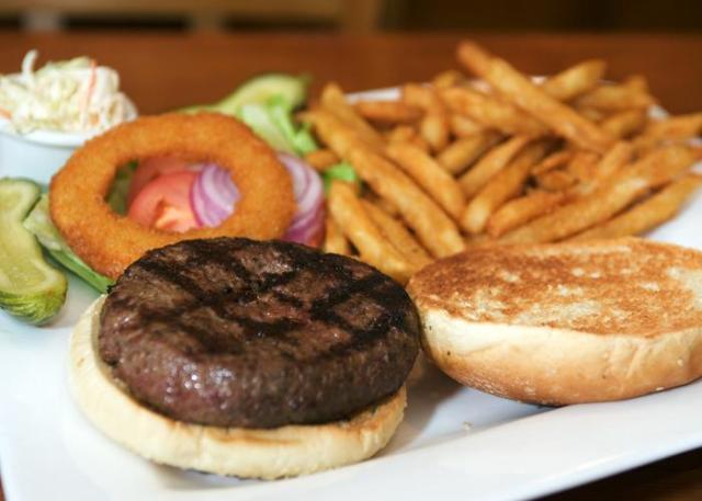 """Regular Hamburger"" at Timmy's By The River (photo credit: Seamless)"