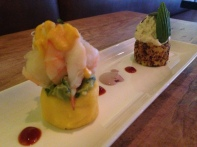 Quinoa topped with Chicken Salad & Causa topped with Guacamole and Shrimp